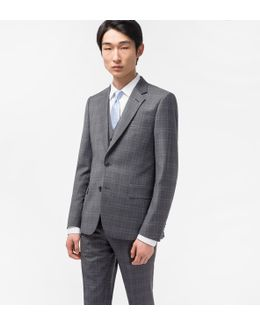 The Soho - Men's Tailored-fit Grey Double-check Wool Three-piece Suit