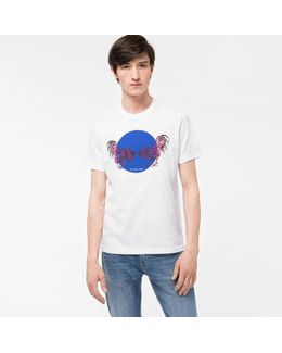 Men's White 'year Of The Rooster' Print Organic-cotton T-shirt