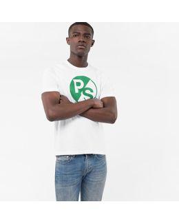 Men's White Ps Logo Organic-cotton T-shirt