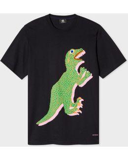Men's Black Organic-cotton 'dino' Print T-shirt
