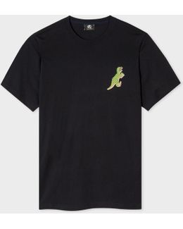 Men's Black Organic-cotton Small 'dino' Print T-shirt