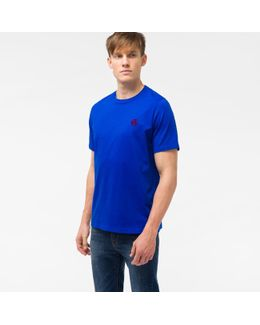 Men's Cobalt Blue Organic-cotton Flocked Ps Logo T-shirt