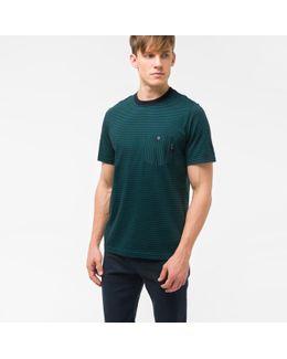 Men's Teal And Navy Stripe Supima-cotton Pocket T-shirt