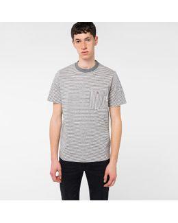 Men's Grey And Ecru Stripe Supima-cotton Pocket T-shirt