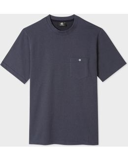 Men's Navy Cotton Patch-pocket T-shirt