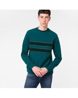Men's Teal Organic-cotton Textured-stripe Sweatshirt