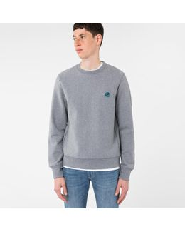 Men's Grey Marl Embroidered Ps Logo Organic-cotton Sweatshirt