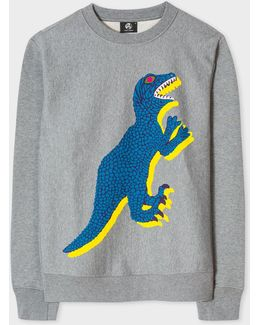 Men's Grey Marl Organic-cotton 'dino' Print Sweatshirt
