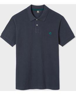 Men's Dark Grey Ps Logo Organic-cotton Polo Shirt