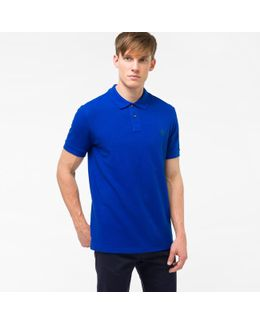 Men's Indigo Embroidered Ps Logo Organic-cotton Polo Shirt