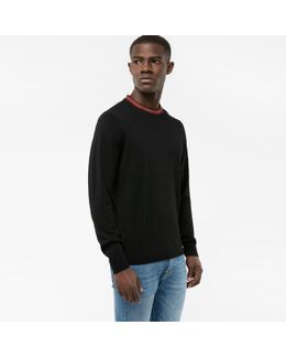 Men's Black Merino Wool-blend Sweater With Contrasting Collar