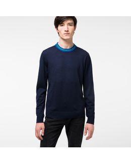 Men's Navy Merino Wool-blend Sweater With Contrasting Collar