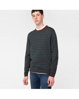 Men's Brown And Teal Breton-stripe Merino Wool Sweater