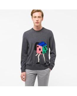 Men's Dark Grey 'dancing Dice' Placement Intarsia Merino Wool Sweater