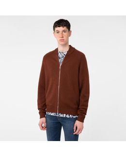 Men's Burnt Red Merino Wool Zip-front Cardigan