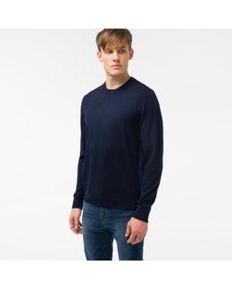 Men's Navy Merino Wool Sweater With Contrast Side Stripe