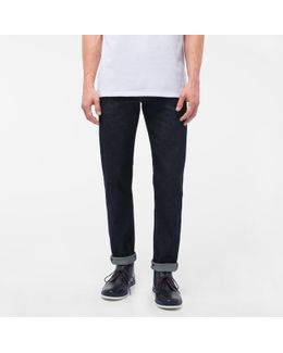 Men's Tapered-fit Indigo-rinse Ozone-wash Organic-cotton Jeans