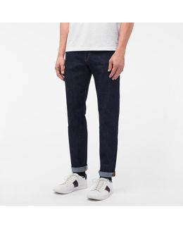 Men's Tapered-fit Indigo Crosshatch Stretch-denim Jeans