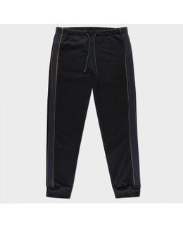 Men's Black Loopback-cotton Sweatpants With Contrast Side-stripes
