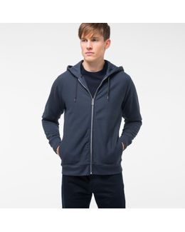 Men's Slate Blue Organic-cotton Zip-front Hoodie