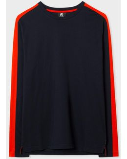 Men's Navy Organic-cotton Long-sleeve T-shirt With Red Side-stripes