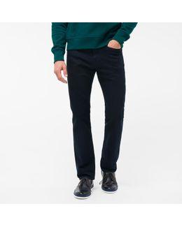 Men's Standard-fit Over-dyed Navy Crosshatch Stretch-denim Jeans