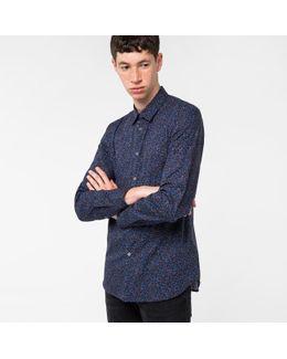 Men's Slim-fit Navy 'hole Punch' Print Cotton Shirt