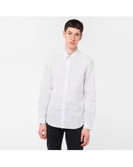 Men's Tailored-fit White 'cactus Seed' Print Cotton Shirt