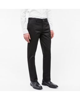 Men's Mid-fit Black Mercerised Stretch-cotton Twill Chinos