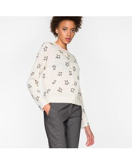 Women's Taupe Merino Wool Cardigan With Flocked 'stars'