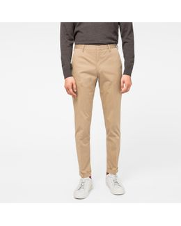 Men's Slim-fit Tan Stretch Cotton-twill Trousers