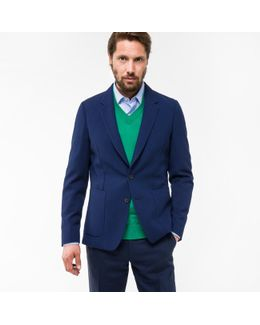 Men's Tailored-fit Indigo Two-tone Open-weave Merino Blazer