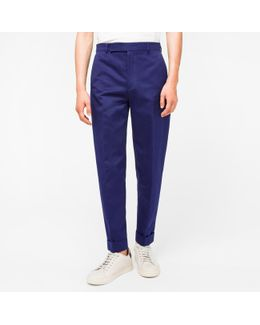 Men's Indigo Cotton And Linen-blend Tapered Trousers