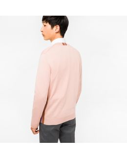Men's Pink Pima-cotton V-neck Sweater With Contrast Side-stripes