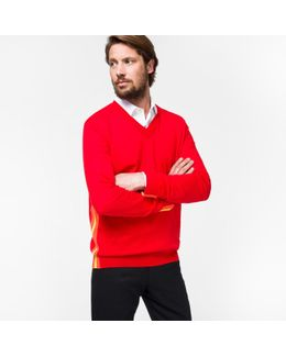 Men's Red Pima-cotton V-neck Sweater With Contrast Side-stripes