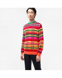 Men's Cotton-blend Multi-colour Check Sweater
