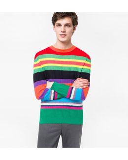 Men's Multi-colour Cotton-blend Summer Stripe Sweater
