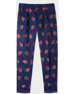 Men's Indigo 'strawberry Skull' Embroidered Cotton And Linen-blend Tapered Trousers