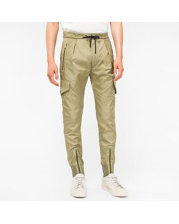 Men's Khaki Multi-pocket Cotton And Cupro-blend Trousers