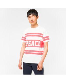 Men's Slim-fit White 'peace Stripe' Print T-shirt