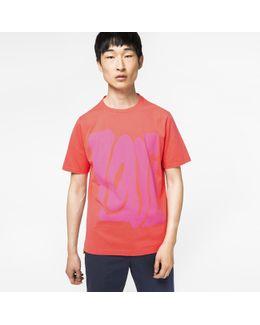 Men's Slim-fit Coral 'love' Print T-shirt
