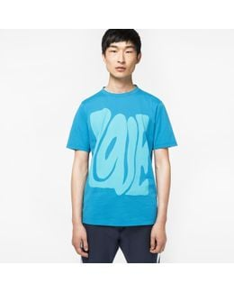 Men's Slim-fit Turquoise 'love' Print T-shirt