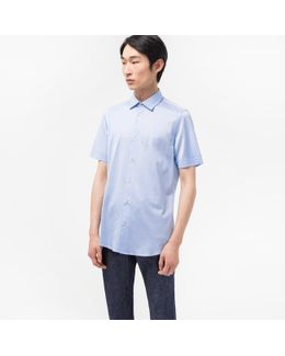 Men's Tailored-fit Sky Blue Jersey Short-sleeve Shirt
