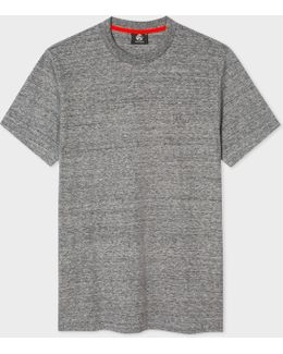 Men's Slim-fit Grey Marl Embossed Ps Logo Supima-cotton T-shirt