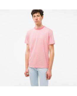 Men's Pink And Ecru Thin-stripe Cotton T-shirt