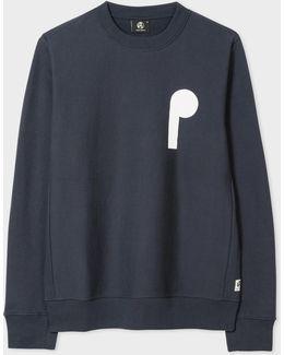 Men's Washed Navy P&s Cutout Print Organic-cotton Sweatshirt
