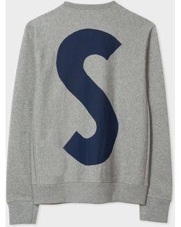 Men's Grey Marl P&s Cutout Print Organic-cotton Sweatshirt