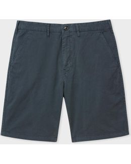 Men's Washed Grey Garment-dyed Stretch Pima-cotton Shorts