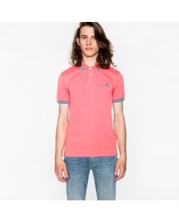 Men's Slim-fit Pink Ps Logo Polo Shirt With Teal Tipping
