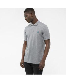 Men's Light Grey Embroidered Ps Logo Organic-cotton Polo Shirt